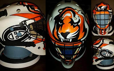 custom painted hockey mask Bengal themed orange and white